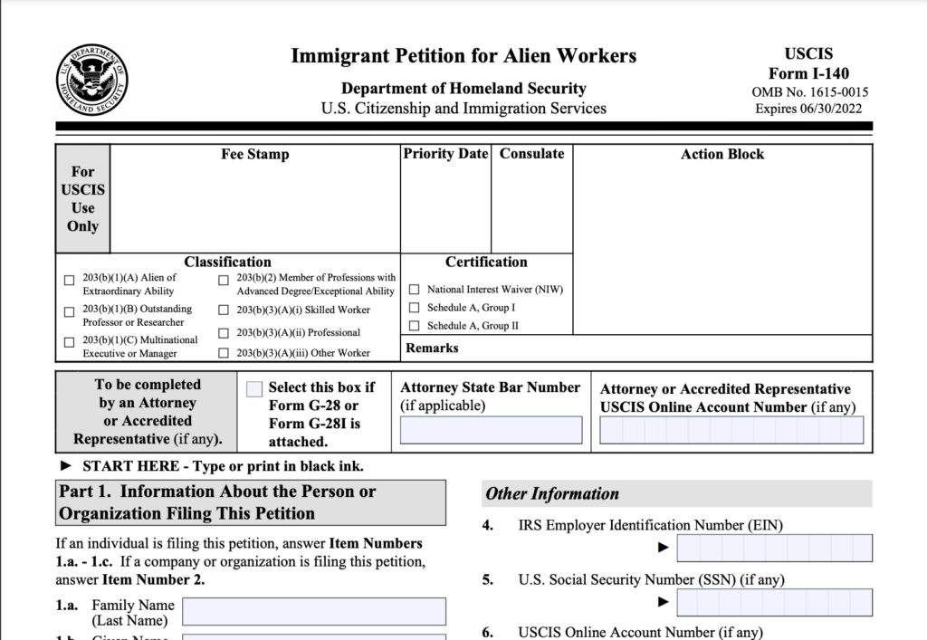 Form to fill out for EB-2 and EB-3 green card immigration
